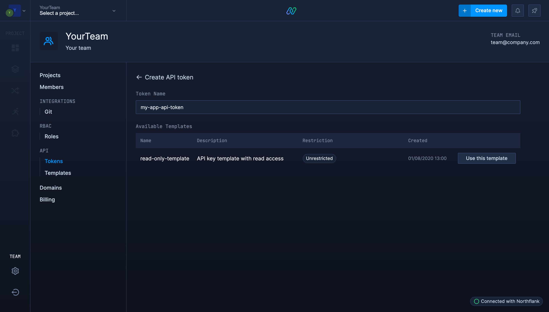 Create team API key template