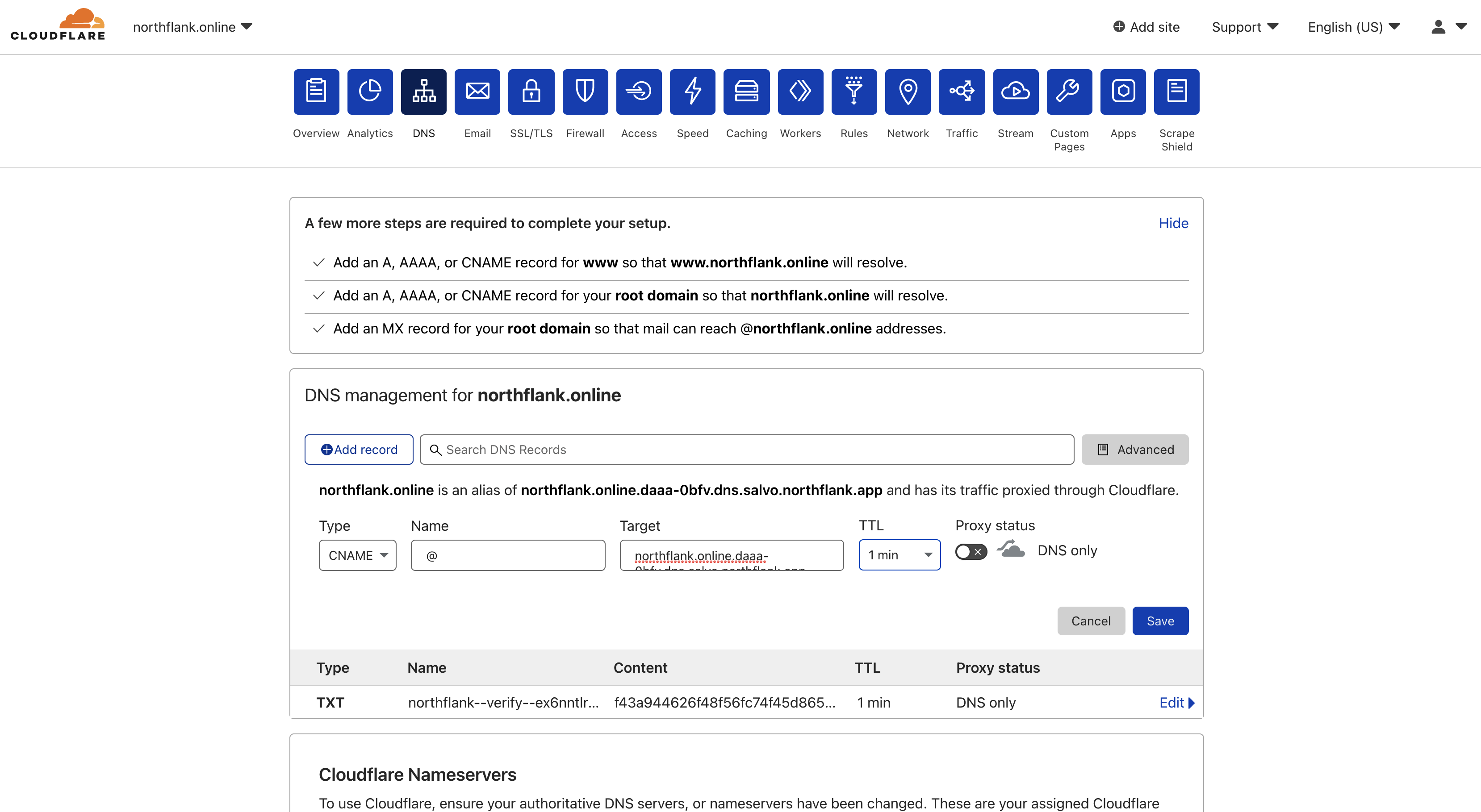 Adding a CNAME record to link an apex domain on Cloudflare