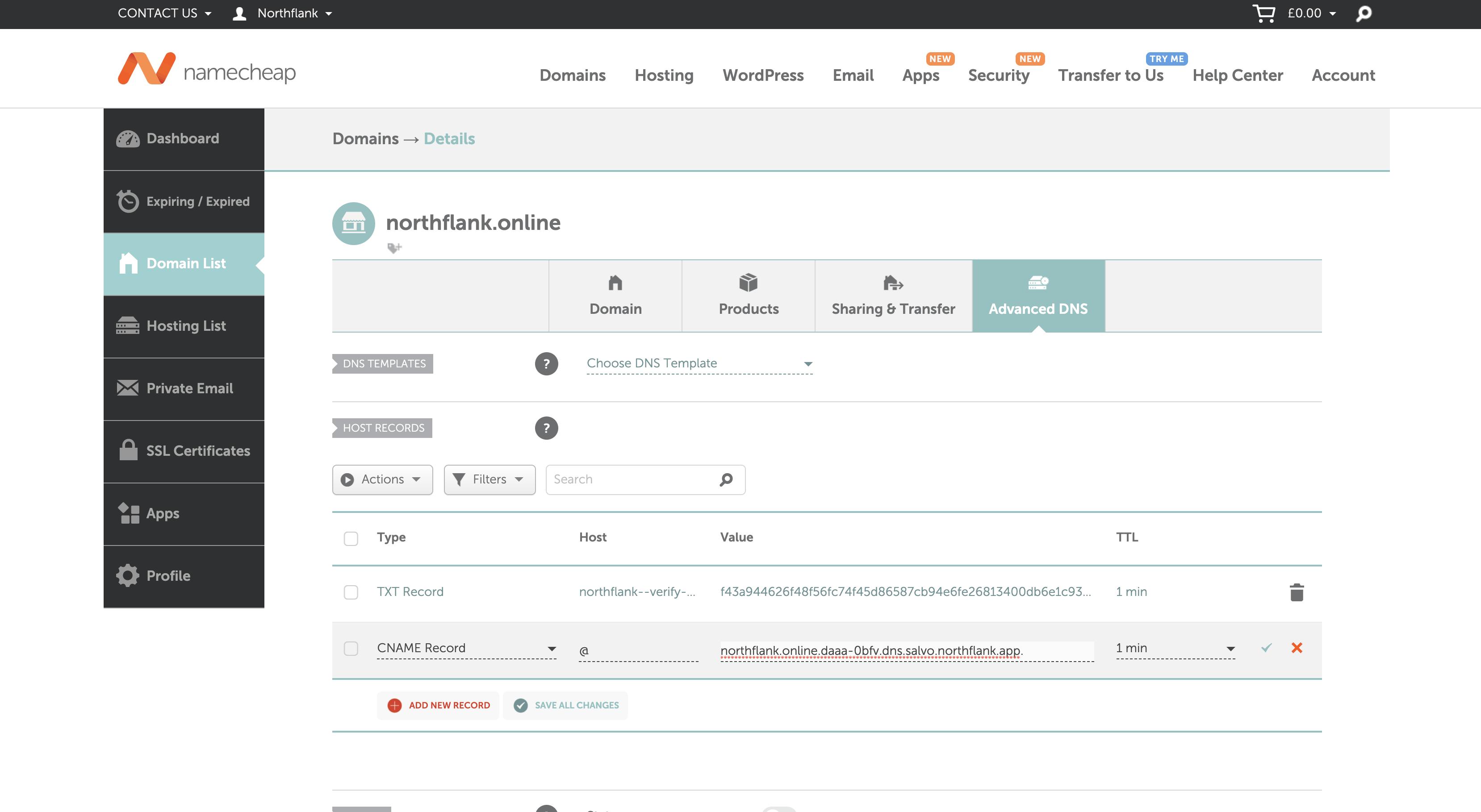 Adding an ALIAS record to link an apex domain on Namecheap