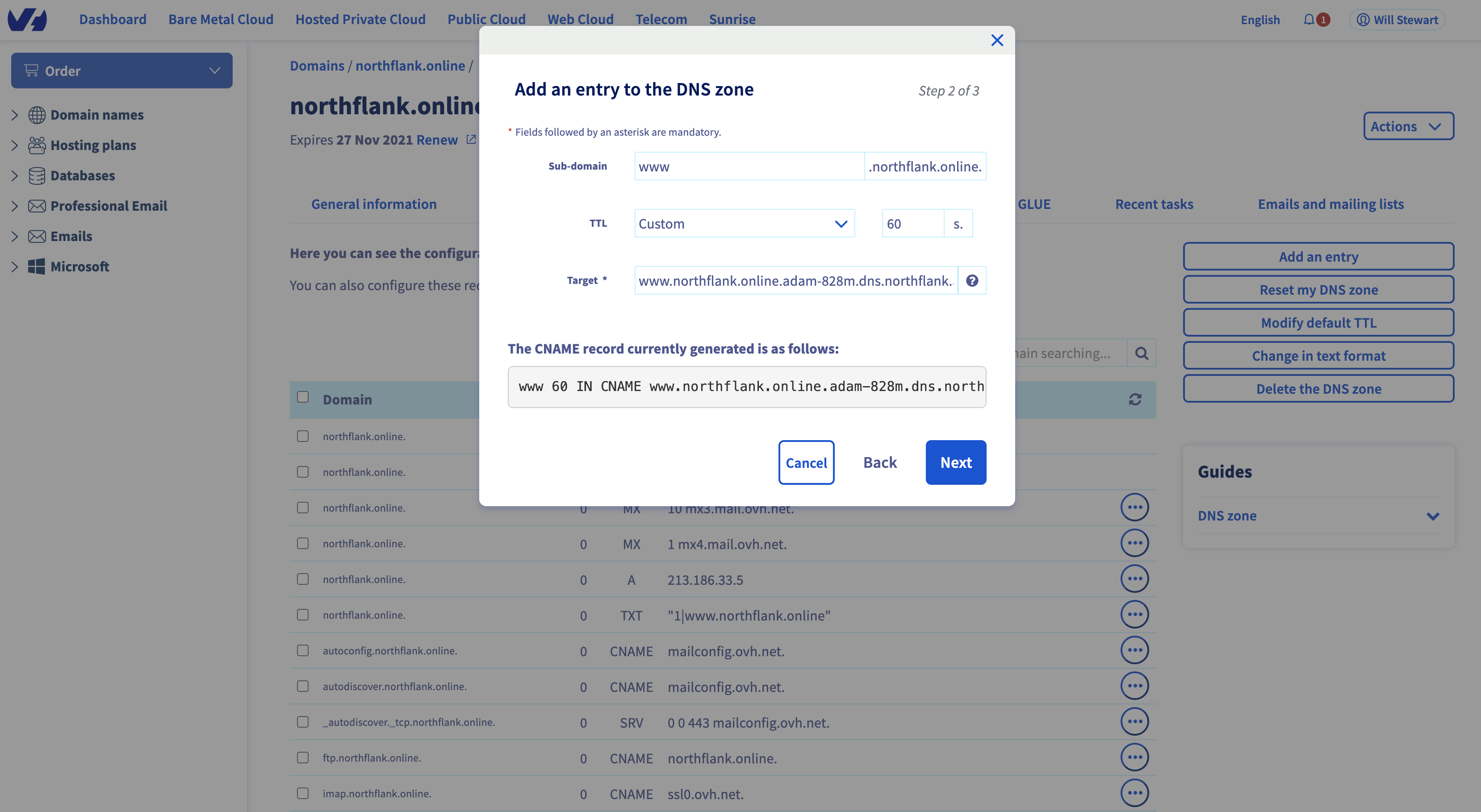 Adding a CNAME record to link a subdomain on OVH